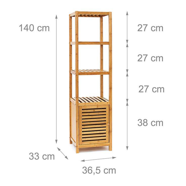 relaxdays tagre pour salle de bain cuisine armoire avec porte refermable bois de bambou 5 tages - Meuble Haut Cuisine Porte Vitree Avec Etage