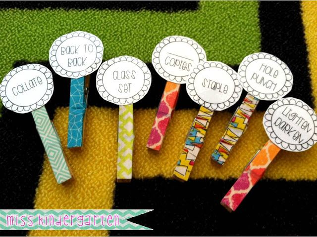 Miss Kindergarten - Attach these clothes pins to papers so volunteers know exactly what you need copied! :)