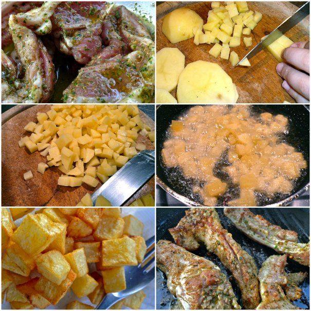 μαριναρισμένα τσικνο-παϊδάκια με πατάτες σε ζάρια
