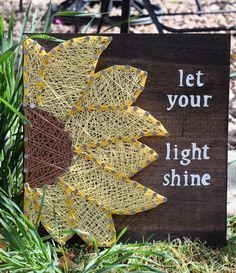 Sunflower String Art by NailedItArtShop on Etsy