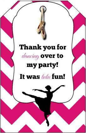 free printable ballerina party bag tag