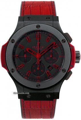 Hublot Big Bang All Black Red 44mm $15,900 #Hublot #watch #watches #style #chronograph ceramic case with crocodile skin bracelet