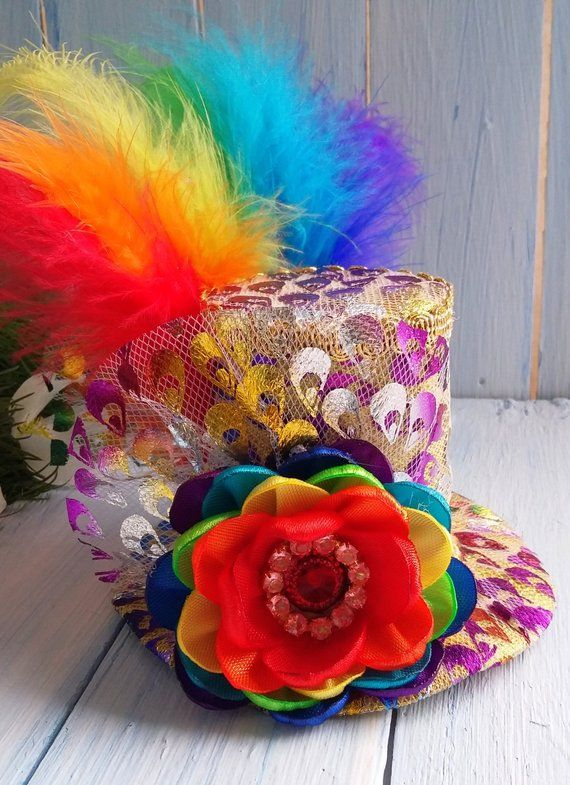 Mini Top Hat Headband Rainbow Mini Top Hat Mad Hatter Hat Tea Party ... 82552fe6f407