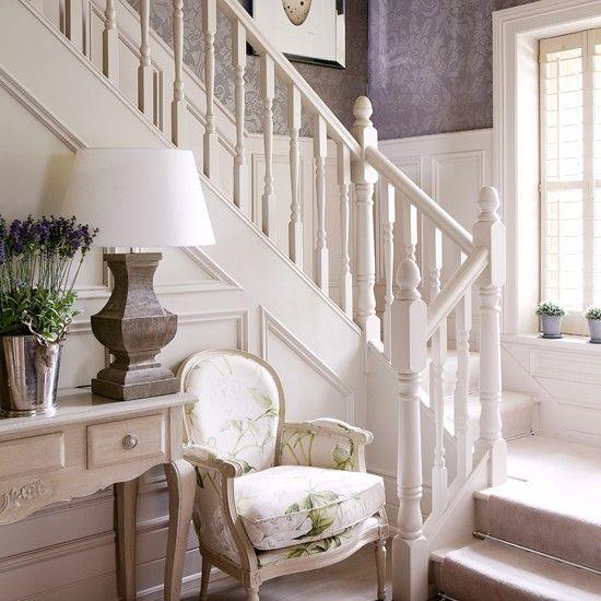 elegant cream hallway with damask wallpaper - Decorating Ideas Hallways