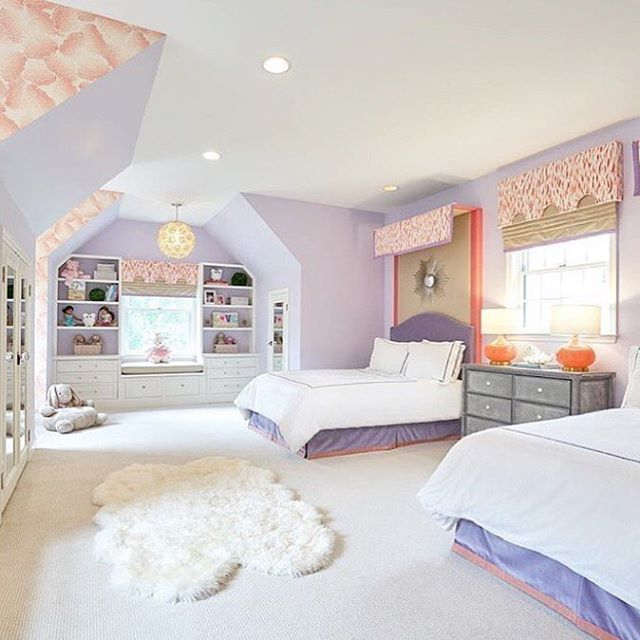 In love with this coral and lavender color palette in a girl's room by my friends at @fullerinteriors If you don't follow Jen's work you need to! Your lamps are a perfect addition @emporiumhome #regram #interiordesign #kidfriendly #canopy #coral #lavender #chic #bedroom #designerfriends