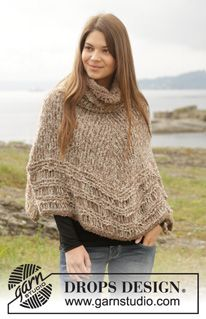 """Knitted DROPS poncho with dropped sts in garter st and stocking st in 2 strands """"Alpaca Bouclé"""". Size: S - XXL. ~ DROPS Design"""