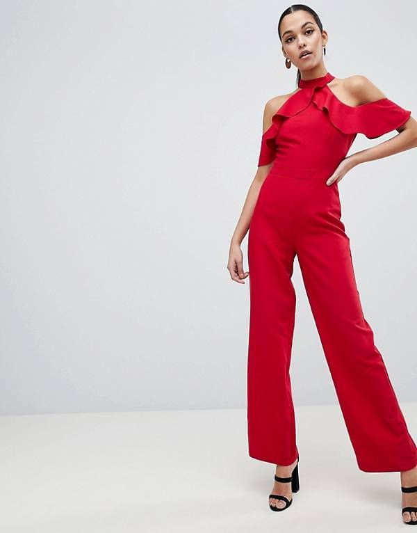 cac82650a6 Lipsy Halter Neck Jumpsuit with Ruffle Detail