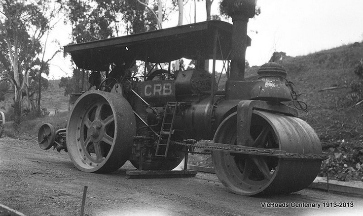Calder Highway section 2 Thompson roller fitted with broom, Metcalfe 1932. VicRoads Centenary 1913-2013.