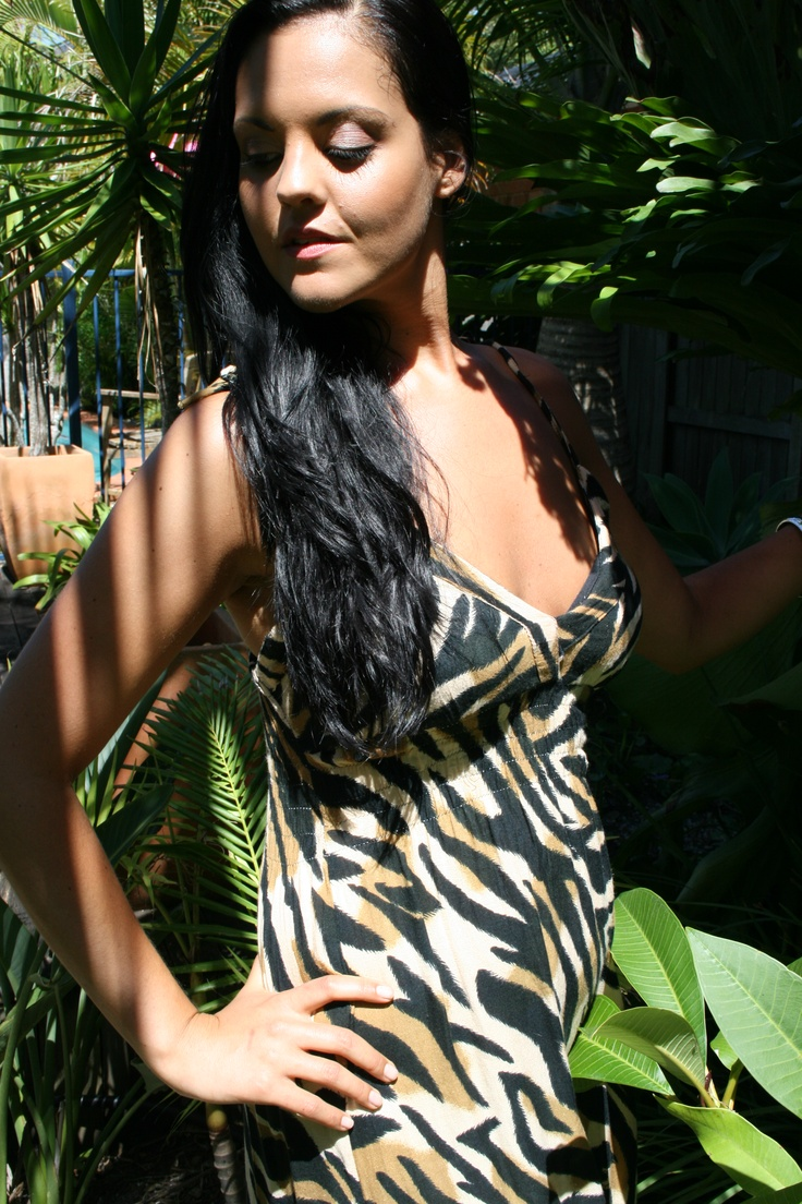 "www.ladywatego.com    Lady WATEGO,Byron Bay ""Ibiza"" maxi dress in black and tan Tiger print"