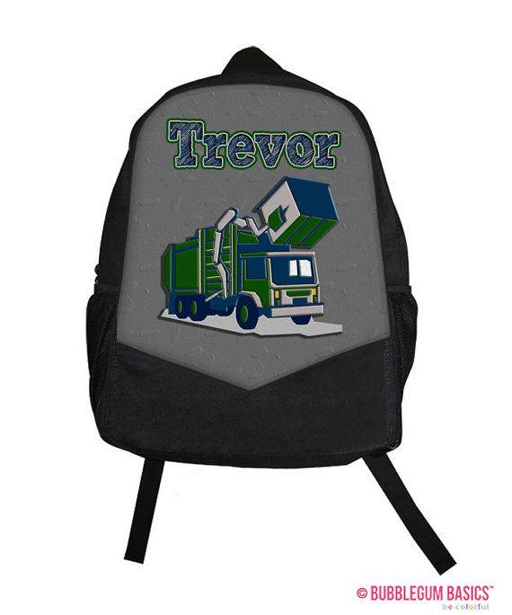 Custom Personalized GARBAGE TRUCK Gray Green Kids Boy Backpack tote School Camp Monogram by BubblegumJR (https://www.etsy.com/listing/196587342/custom-personalized-garbage-truck-gray?ref=shop_home_active_1)