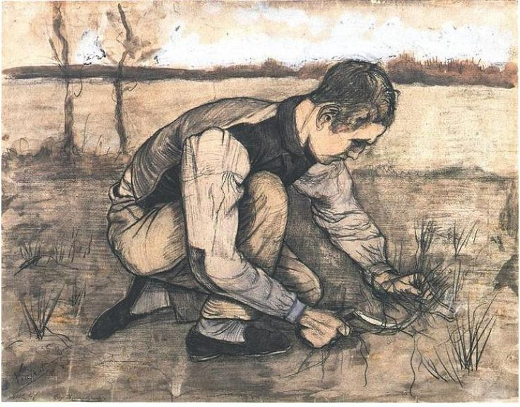 Boy Cutting Grass with a Sickle by Vincent Van Gogh Watercolor, black chalk and watercolour Etten: October, 1881 http://www.vangoghgallery.com/catalog/Watercolor/1803/Boy-Cutting-Grass-with-a-Sickle.html