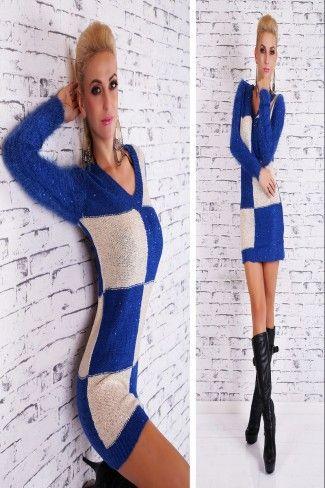 Μπλουζοφόρεμα με διάσπαρτες παγιέτες  - Μπλε