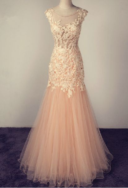 Mermaid Tulle Prom Dresses with Lace Appliques Scoop Neck Floor Length Party Dresses