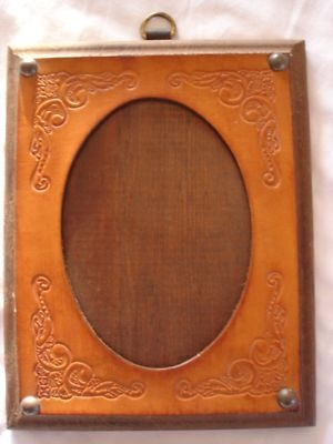 hand tooled leather picture frame