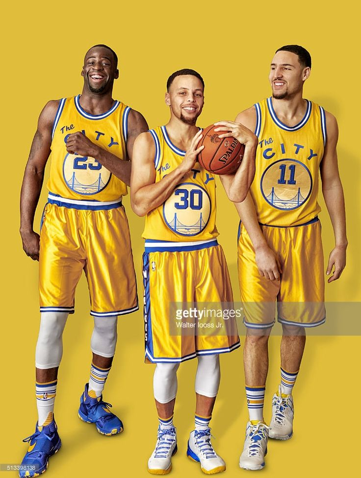 Portrait of Golden State Warriors (L-R) forward Draymond Green (23), point guard <a gi-track='captionPersonalityLinkClicked' href=/galleries/search?phrase=Stephen+Curry+-+Basketball+Player&family=editorial&specificpeople=5040623 ng-click='$event.stopPropagation()'>Stephen Curry</a> (30), and shooting guard Klay Thompson (11) during photo shoot at Sheraton Centre Toronto Hotel. Cover. Walter Iooss Jr. TK1 )
