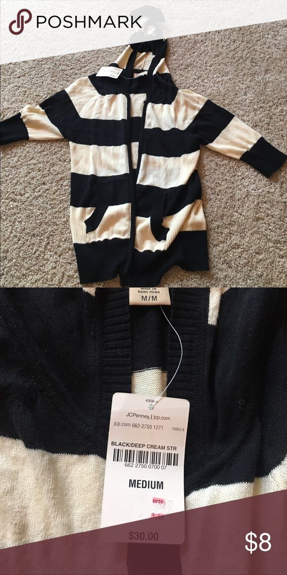 Striped zip up sweater Striped black & cream zip up sweater. JCpenney. Size medium. Brand new with tags. jcpenney Sweaters Cardigans