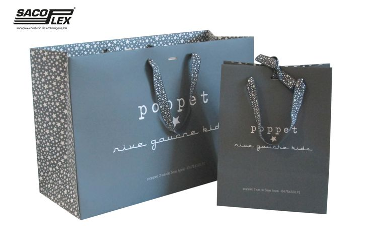 Luxury Paper Bag Matte Lamination, with printed Ribbons