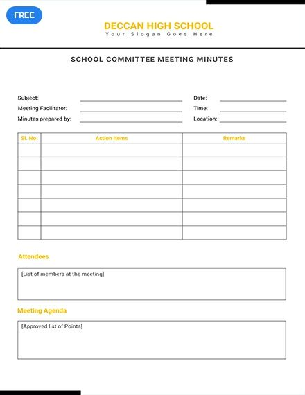 free school committee meeting minutes meeting minutes templates