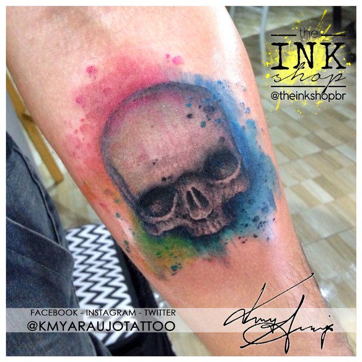 Watercolor paint splatter skull tattoo. Made by Kmy Araujo at The Ink Shop (Niteroi, RJ, Brazil).  Tatuagem em aquarela de caveira em aquarela. Feita por Kmy Araujo no The Ink Shop (Niterói, RJ.) Rua Domingues de Sá, 293 - sala 503, Icarai, Niteroi, RJ  (21) 2082-7685  (21) 97917-1304 www.facebook.com/kmyaraujotattoo