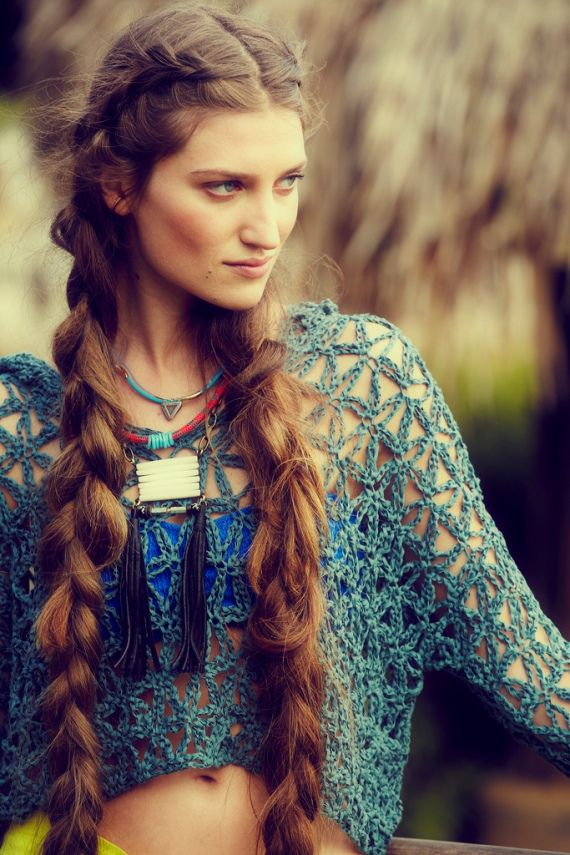 love her hair! (Free People): Bohemian Braids, Long Hair, Beautiful, Long Braids, Bohemian Hair, Hair Style, Boho, Ponytail Hairstyles, Crochet Tops