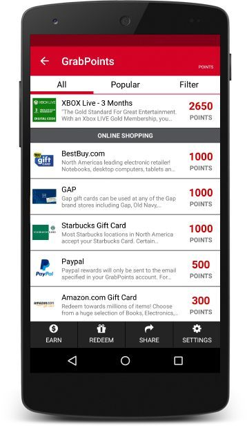 GrabPoints - Free Gift Cards for Watching Videos, Completing Surveys & Downloading Apps!
