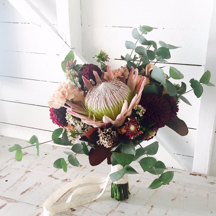 Bohemian summer bridal bouquet by Willa Floral Design   Flowers include King…
