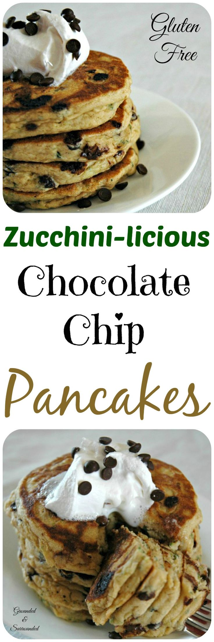 Zucchini has never tasted better! Pancakes will never be the same after you have made these fluffy beauties. These easy pancakes from scratch include a vegetable and chocolate chips and will have your kids begging for more! They are the perfect gluten free breakfast, snack, or dessert. A healthy splurge never hurt anyone!