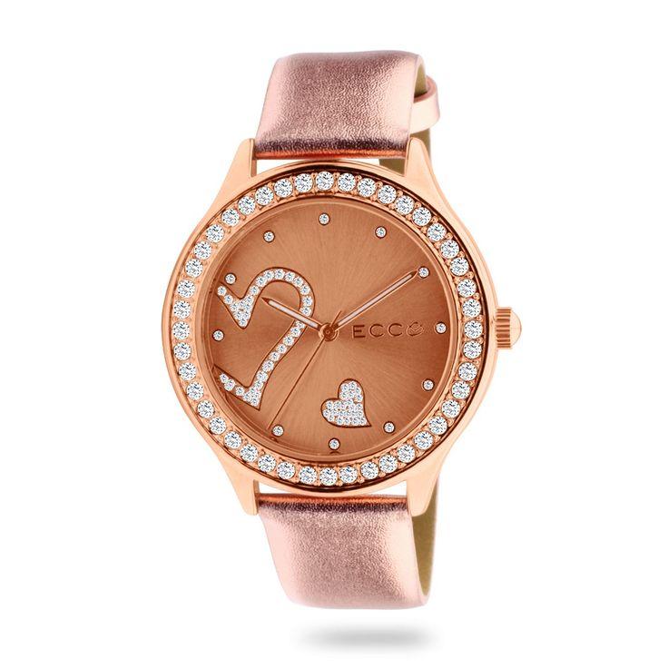 ECC Ladies Stone Set Heart Rose Leather Strap Watch
