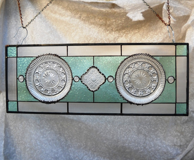 Vintage Stained Glass Plate Panel Depression Glass Window Treatment