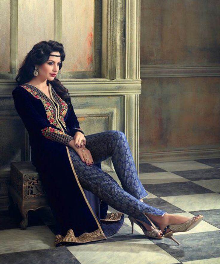 #OnlineShoppingIndia Store sell Designer Heavy #Embroidered on Velvet With Royal blue Color top And Satin Bottom With Chiffon Dupatta semi-stitched #salwar-suit #dress materials.