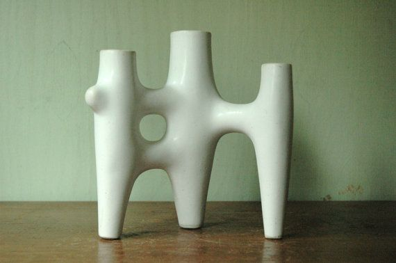 Danish Modern Abstract Ceramic Candelabra - Mid Century Modern Tiered Candle Holder
