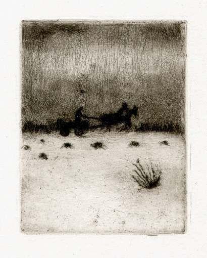 Bohuslav Reynek Rozvážení hnoje / Carting of the Dung suchá jehla / dry point 11,3 x 8,7 cm, 1950, otisk z původní desky, opus G 278
