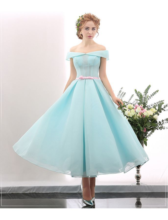 Off Shoulder Vintage Tea Length Ball Gown