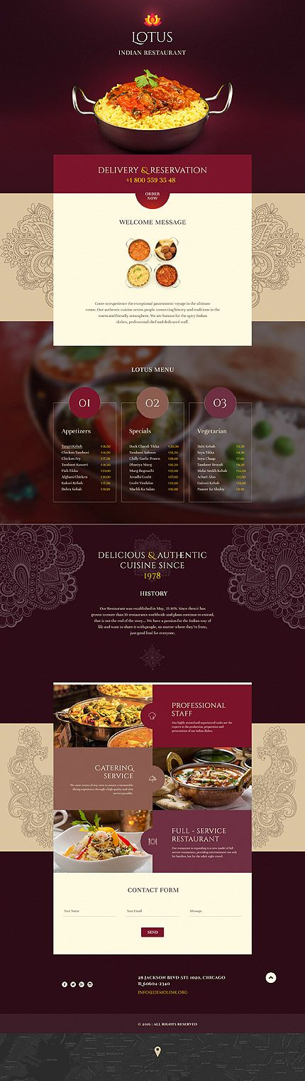 Template 58500 - Lotus Restaurant  Responsive Landing Page Template