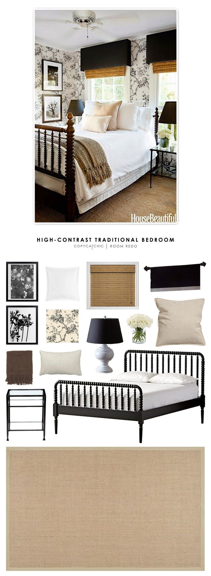 Copy Cat Chic Room Redo | High-Contrast Traditional Bedroom | | Copy Cat Chic | chic for cheap | Bloglovin'