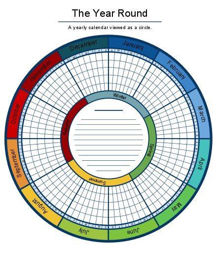 A circular calendar makes planning your year pretty.