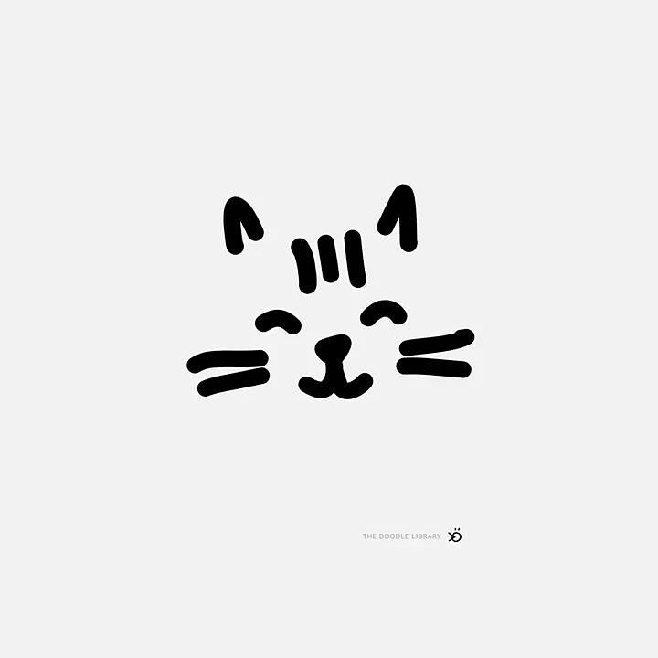 Happy Cat Face Simple Cat Drawing Cat Face Drawing Easy Animal Drawings