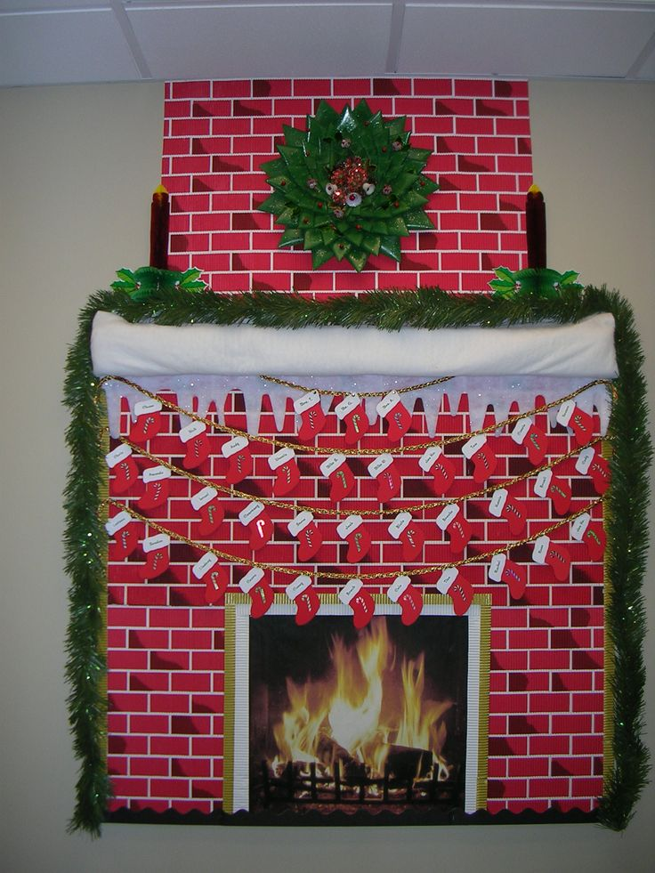 Classroom bulletin board turned fireplace (printed the fire pic on computer)