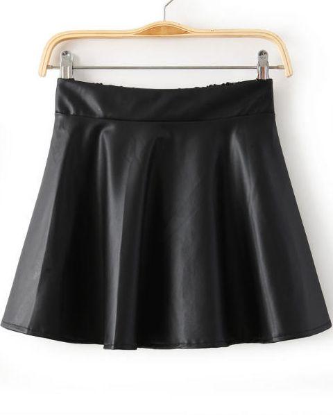 Black Elastic Waist Pleated PU Skirt - Sheinside.com