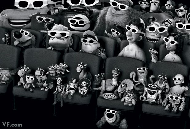 A gathering of Pixar characters from the studio's 11 films. All drawn to scale