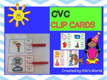 Clip cardsThis product consists of 60 cvc clip cards that covers a,e,i,o and u words. Students use a washing peg to choose the correct word. This is a great activity for centers and helps to reinforce cvc words.*****************************************************************************Customer Tips:Please go to your My Purchases page (you may need to login).