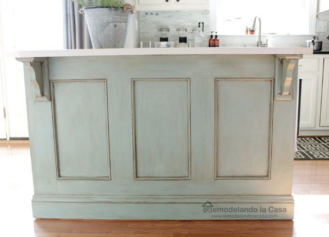 Kitchen island refinished with ASCP Duck Egg blue, glaze and wax Kitchen island painted ASCP- Duck Egg blue / corbels from Home Depot  1. Paint  2. Sand 3. Wax and buff 4. Apply glaze 5. Remove glaze with wet cloth 6. Wax 7. Buff 8. All done