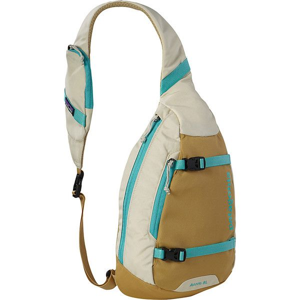 Patagonia Atom Sling Sling (74 NZD) ❤ liked on Polyvore featuring bags, backpacks, slings, tan, one strap sling backpack, padded backpack, tan backpack, backpack messenger bag and one strap backpack