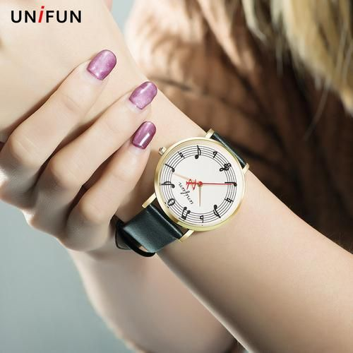 UNIFUN  Musical Notation Quartz Watch Withe Leather Strap For Women Or Men