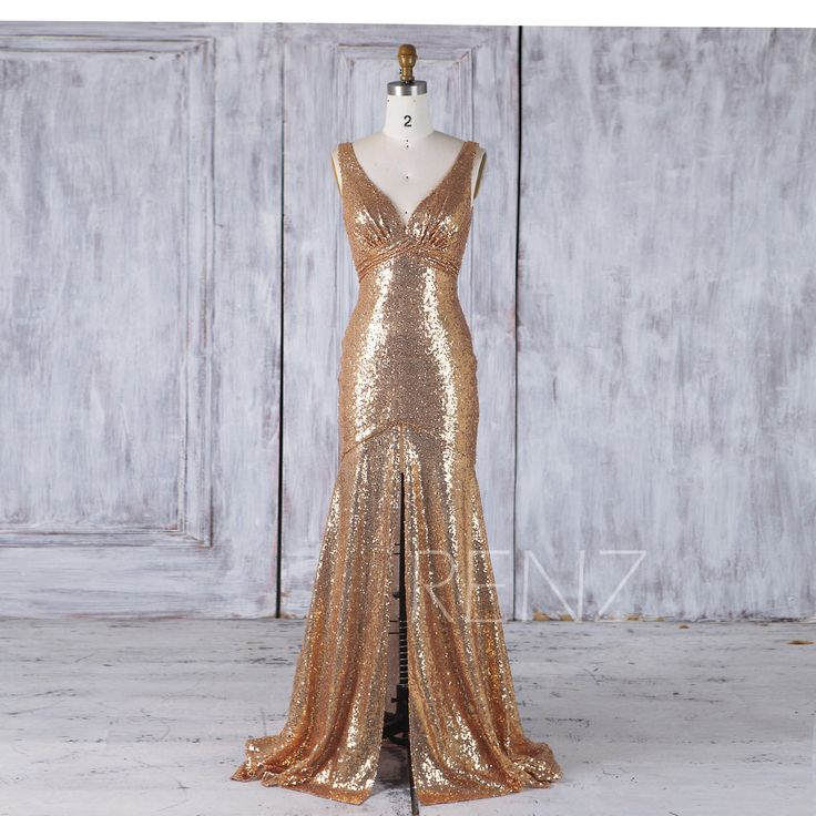 Gold Sequin Bridesmaid Dress,Sexy Deep V Neck Wedding Dress Mermaid, Bodycon Long Prom Dress,Luxury V Back Evening Gown Floor Length (HQ447) by RenzRags on Etsy https://www.etsy.com/listing/509632290/gold-sequin-bridesmaid-dresssexy-deep-v