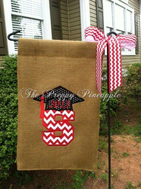 Graduation Burlap Garden Flag single sided by ThePreppyPineappleSC, $22.00