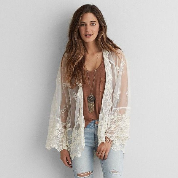 AEO Lace + Mesh Kimono ($37) ❤ liked on Polyvore featuring intimates, robes, ivory, lace robe, lace kimono robe, american eagle outfitters, lace kimono and sheer kimono