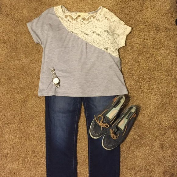 Gray tshirt and lace top! Great shirt for a pair of shorts or jeans! Super comfy. Urban outfitters. Urban Outfitters Tops