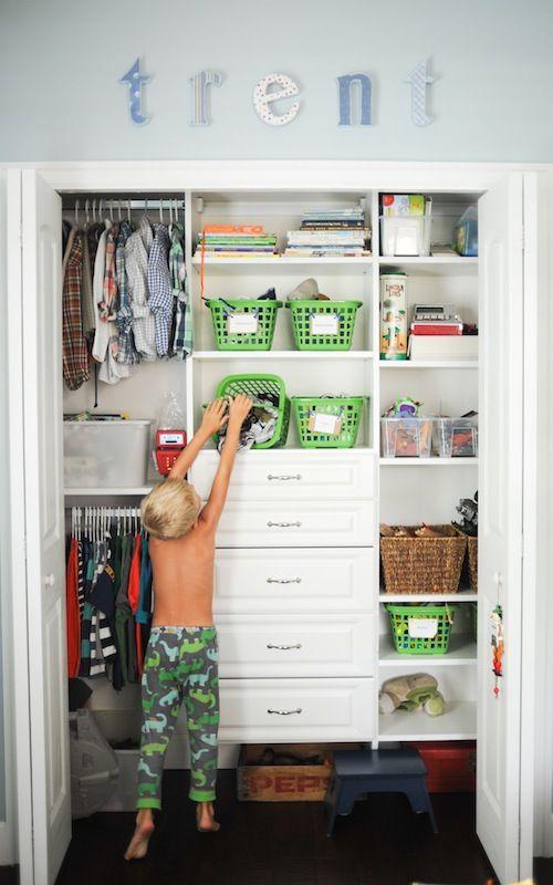 Closet organization for a little boy