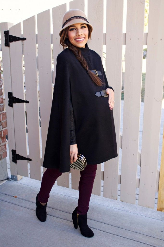 Winter Pregnancy Style Maternity Cape Mychicbump Mychicbump Maternity Fashion Pinterest